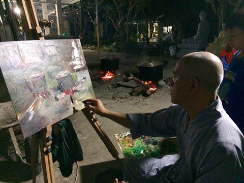 Nồi bánh tết qua nét cọ họa sĩ Nhuận Thường