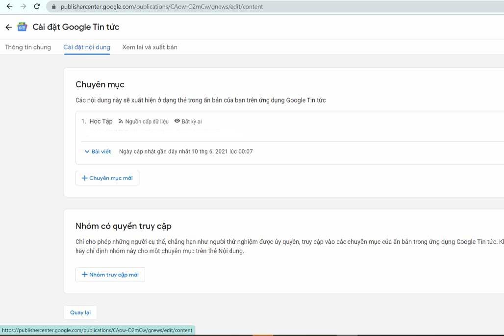 Cài đặt Nội dung trong Google News
